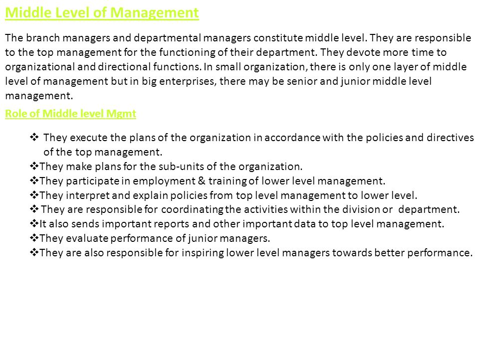 Middle Level of Management