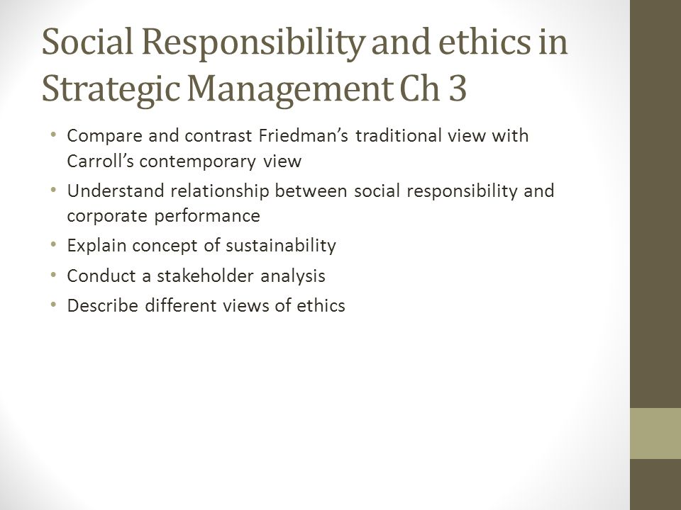 ethics social responsibility and strategic planning The inclusion of ethically driven elements into the strategic-planning process of multinational this crisscrossing of social responsibility and ethics.