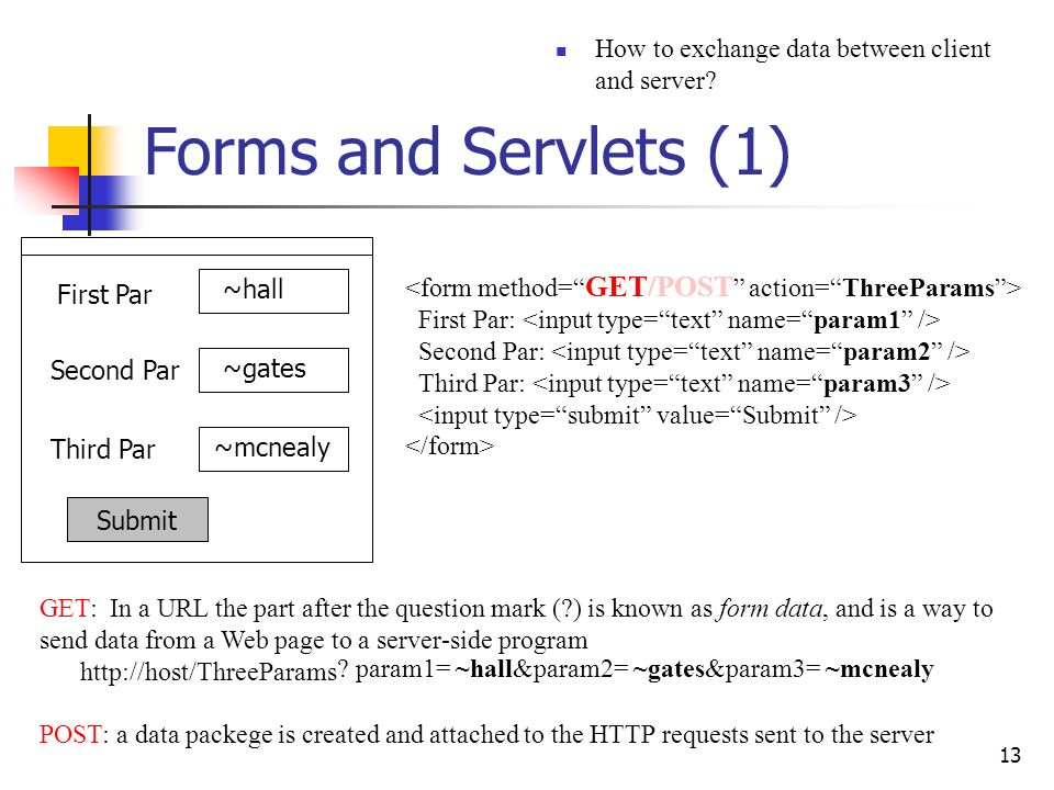 Forms and Servlets (1) How to exchange data between client and server