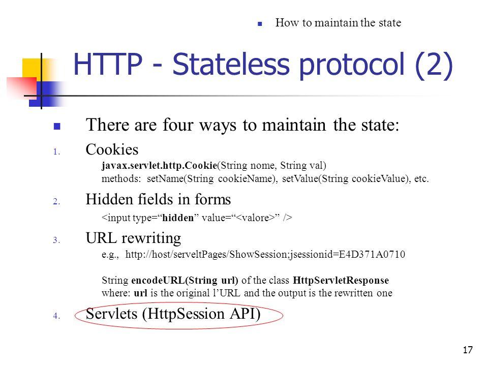 HTTP - Stateless protocol (2)