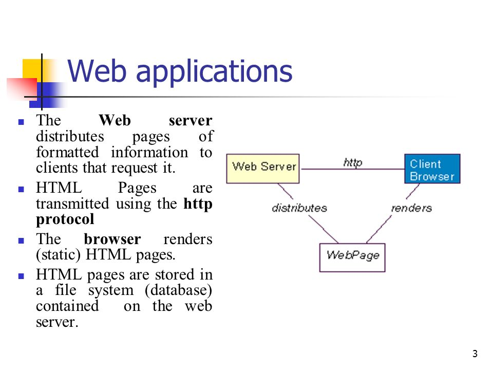 Web applications The Web server distributes pages of formatted information to clients that request it.