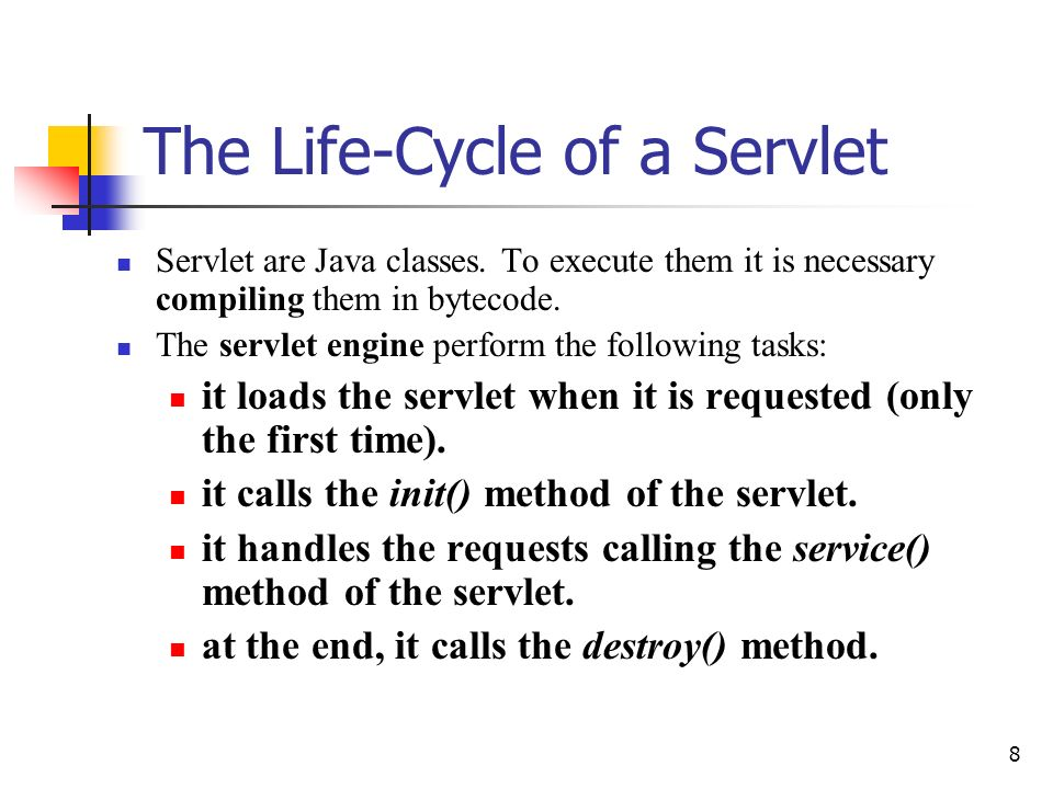 The Life-Cycle of a Servlet