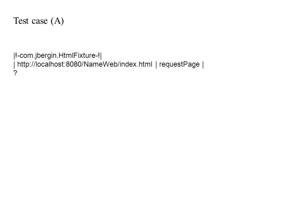 Test case (A) |!-com.jbergin.HtmlFixture-!|