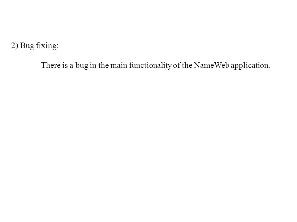 2) Bug fixing: There is a bug in the main functionality of the NameWeb application.