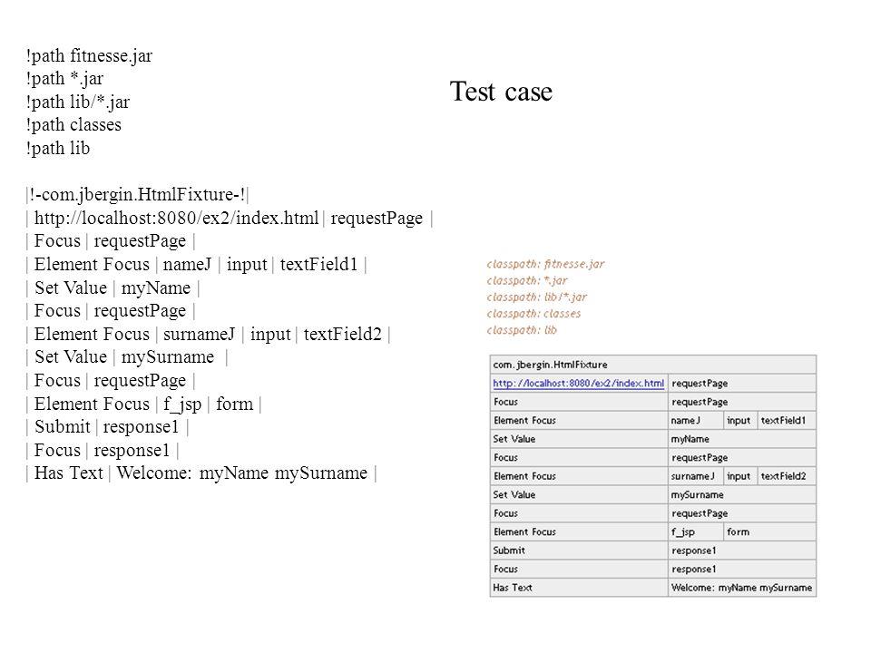 Test case !path fitnesse.jar !path *.jar !path lib/*.jar !path classes