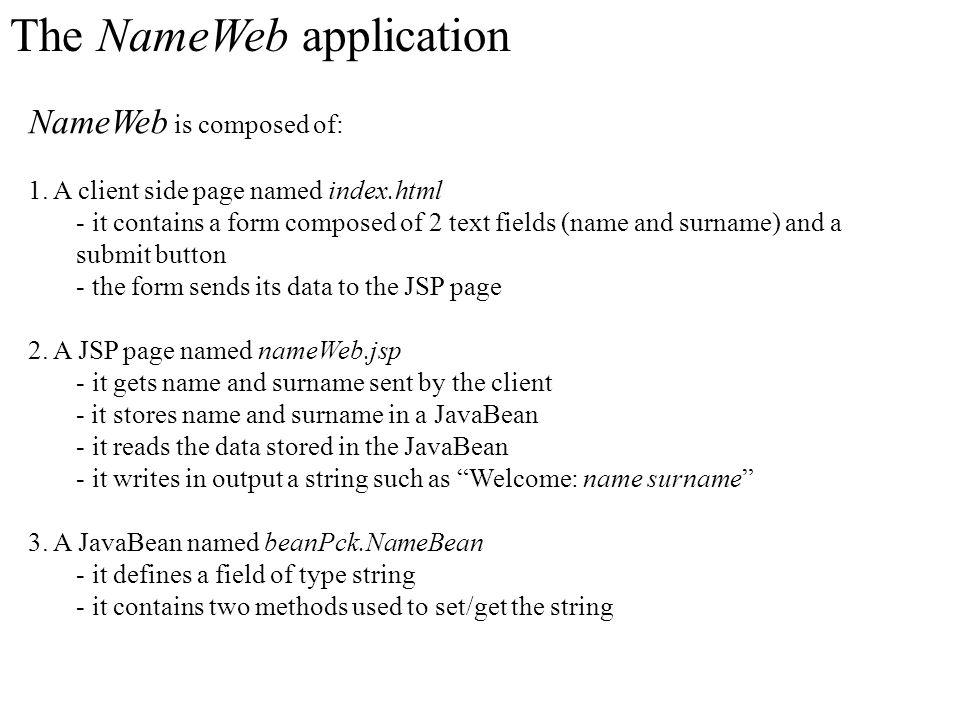 The NameWeb application
