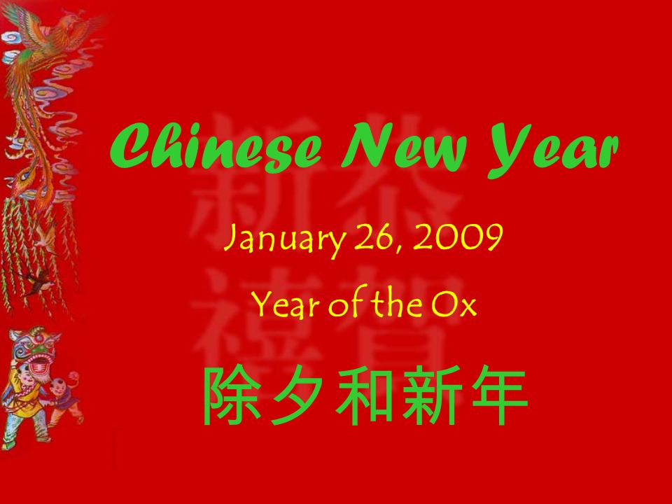 1 chinese new year january 26 2009 year of the ox - Chinese New Year 2009