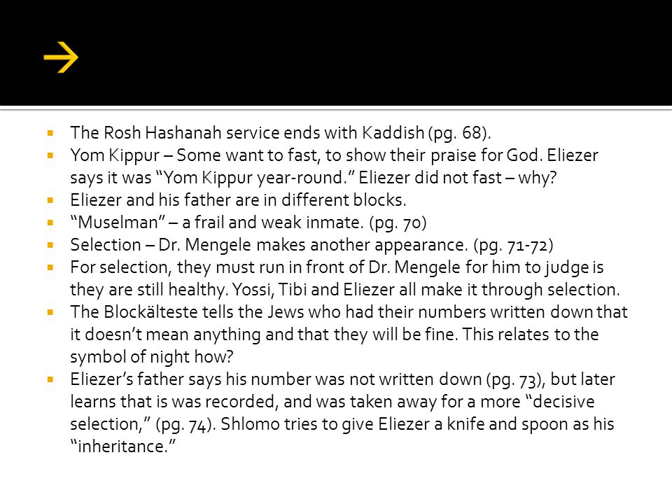 a summary and analysis of the chapters in night by eliezer wiesel Why didn't elie wiesel name or number his chapters in night 1 following  5 answers 5 report abuse are you sure you want to delete this answer.
