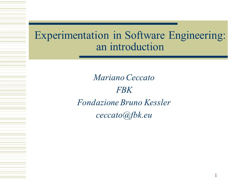 Experimentation in Software Engineering: an introduction