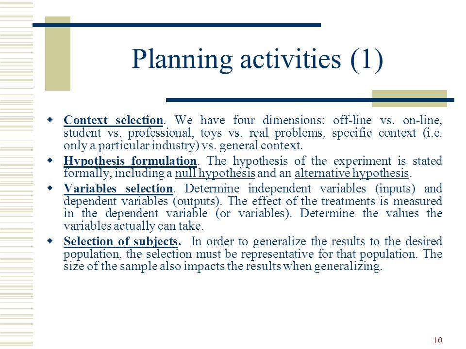 Planning activities (1)