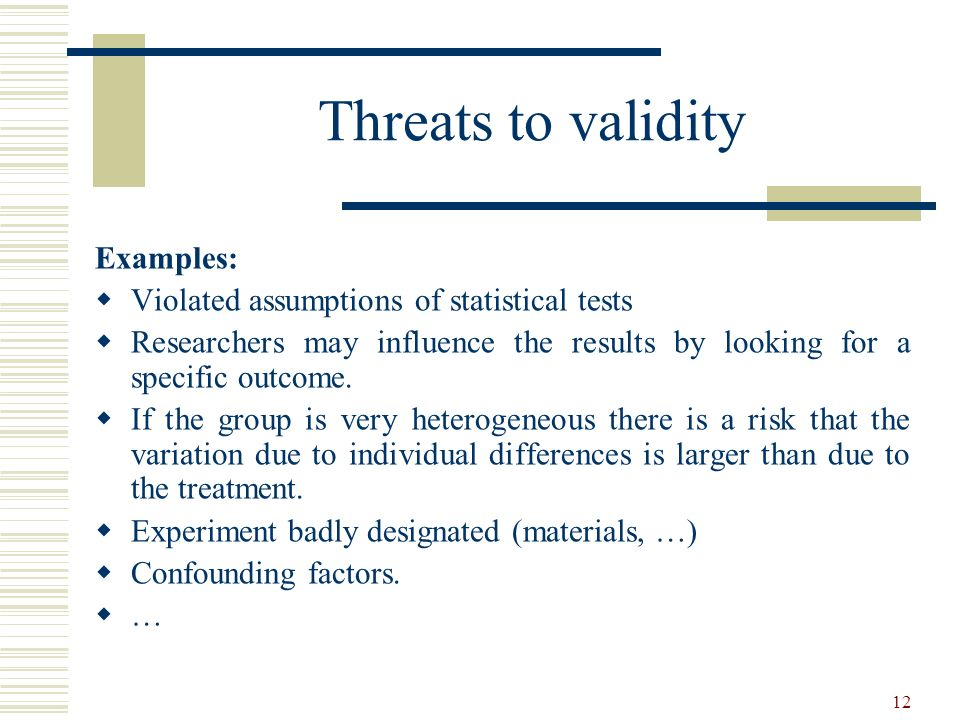 Threats to validity Examples: