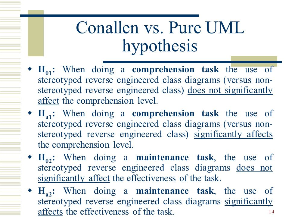 Conallen vs. Pure UML hypothesis