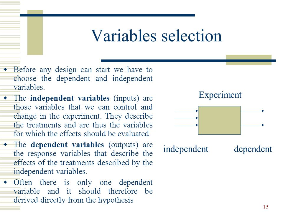 Variables selection Experiment independent dependent