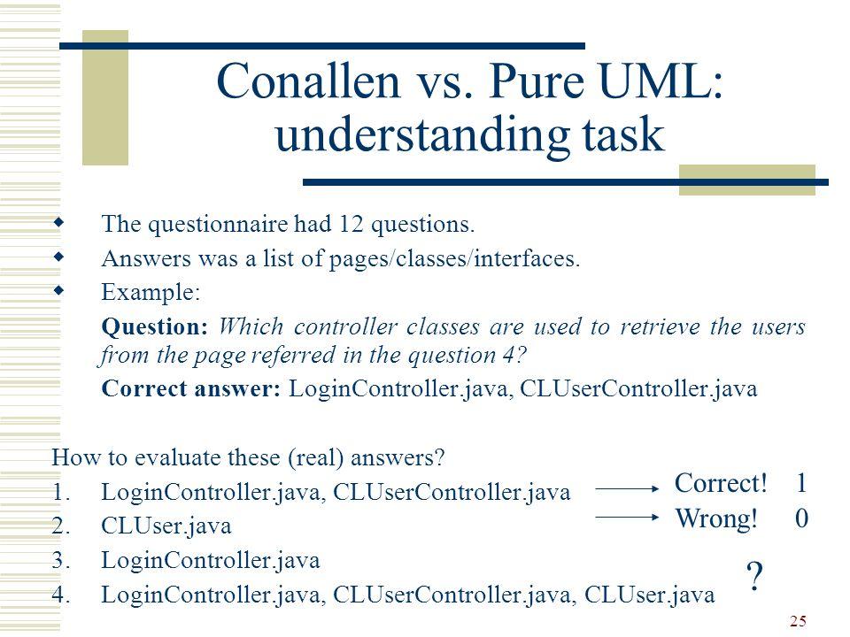 Conallen vs. Pure UML: understanding task