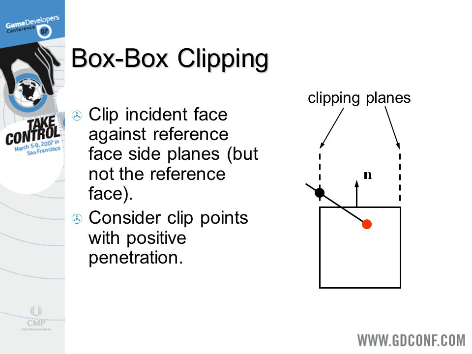 Box-Box Clipping clipping planes. Clip incident face against reference face side planes (but not the reference face).