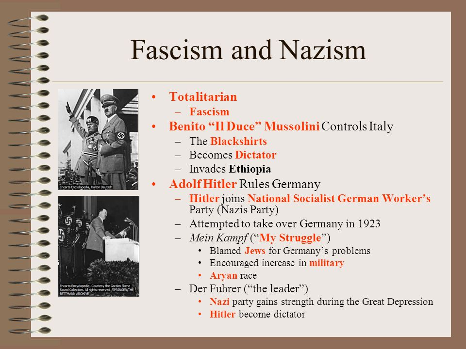 Fascism and Nazism Totalitarian