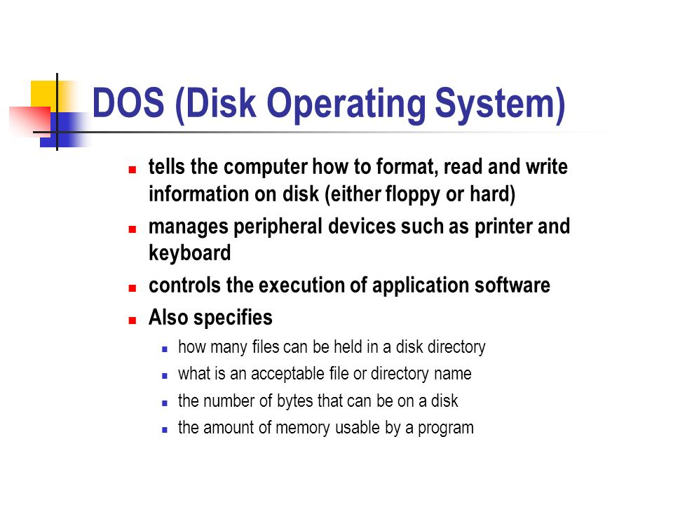 dos disk operating system Both dos (disk operating system) and windows 8 are operating systems dos is more than a decade old and hence, it has no gui(graphical user interface).