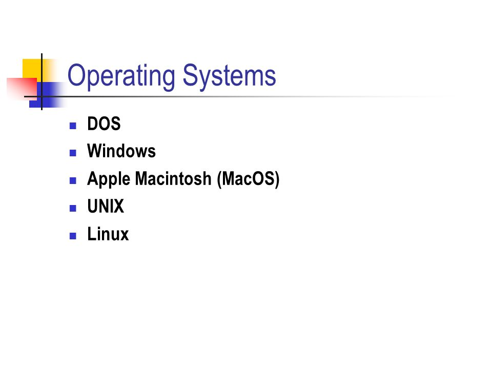 a comparison of unix linux mac and windows operating systems Basic mac - pc differences  macs running mac os x tiger, the newest version  of the operating system, can open pc files and coexist on local networks with.