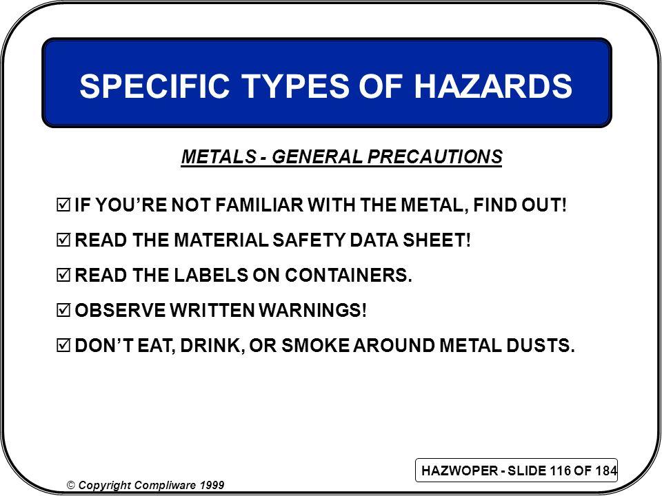 SPECIFIC TYPES OF HAZARDS