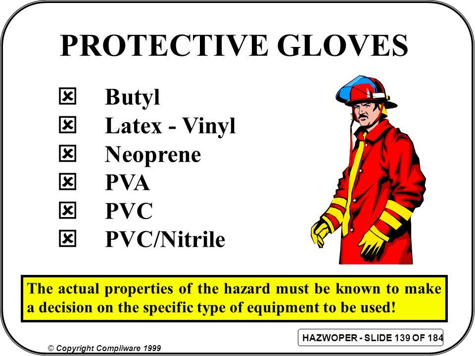 PROTECTIVE GLOVES Butyl Latex - Vinyl Neoprene PVA PVC PVC/Nitrile