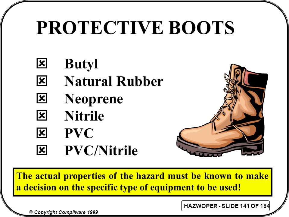 PROTECTIVE BOOTS Butyl Natural Rubber Neoprene Nitrile PVC PVC/Nitrile