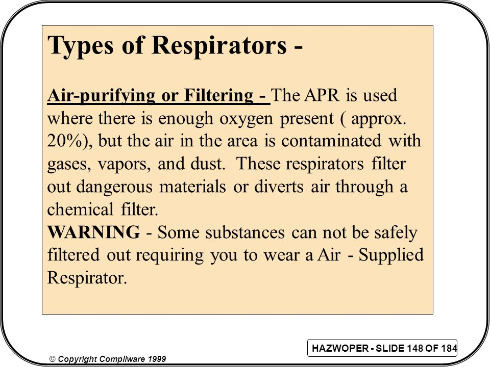 Types of Respirators - Air-purifying or Filtering - The APR is used