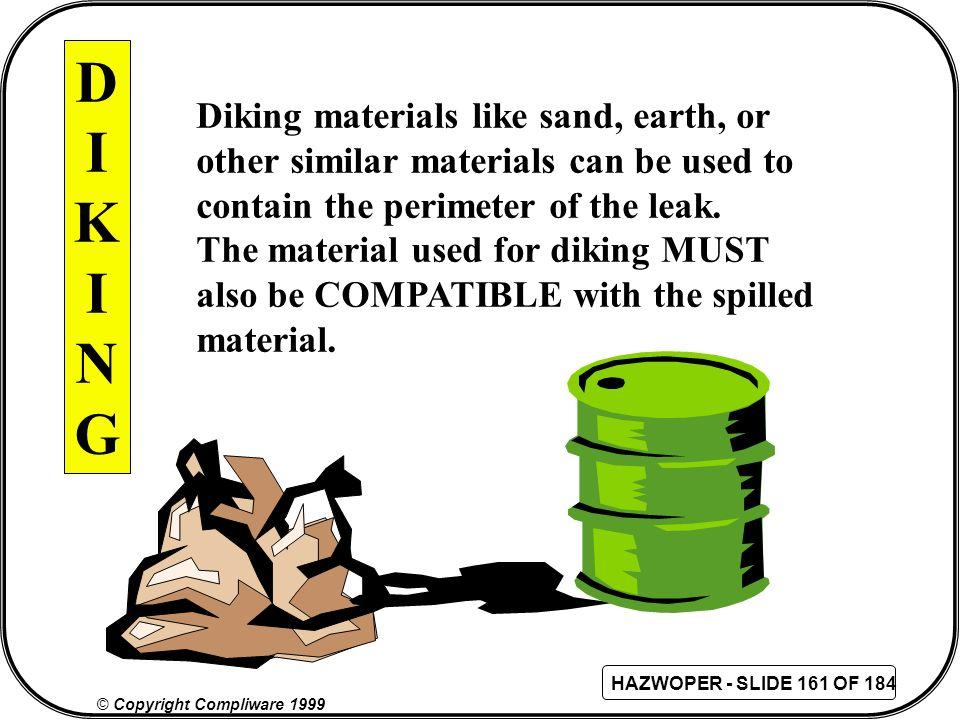 D I K N G Diking materials like sand, earth, or