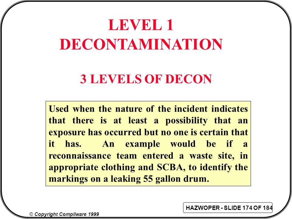 LEVEL 1 DECONTAMINATION
