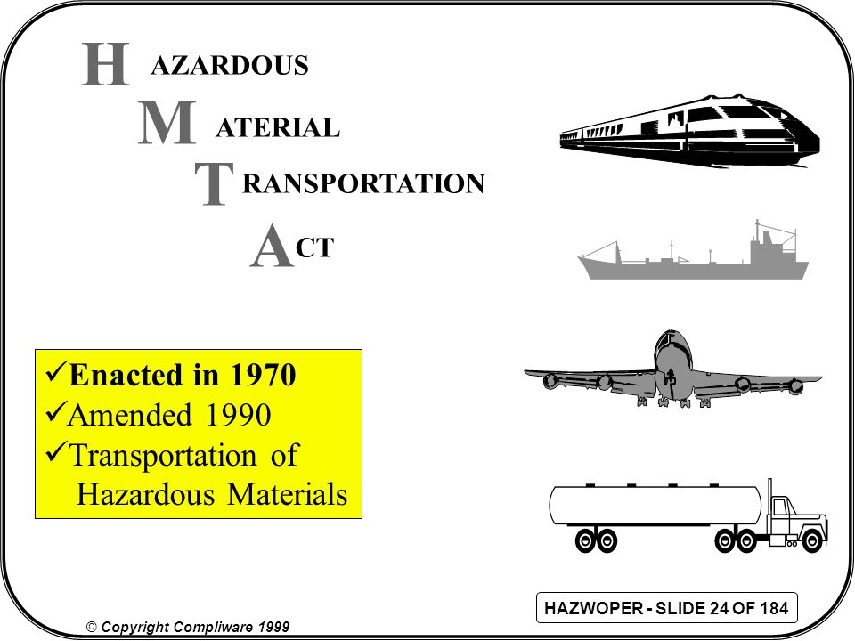 H M T A Enacted in 1970 Amended 1990 Transportation of