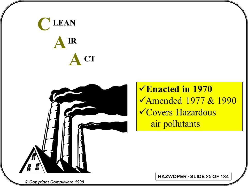 C A A Enacted in 1970 Amended 1977 & 1990 Covers Hazardous