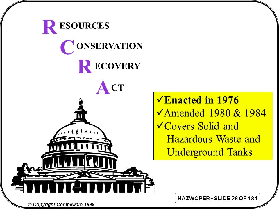 R C R A Enacted in 1976 Amended 1980 & 1984 Covers Solid and