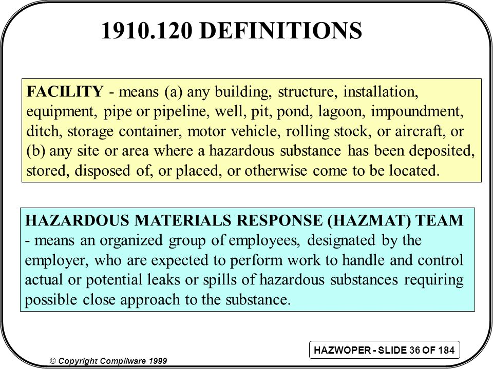 1910.120 DEFINITIONS FACILITY - means (a) any building, structure, installation, equipment, pipe or pipeline, well, pit, pond, lagoon, impoundment,