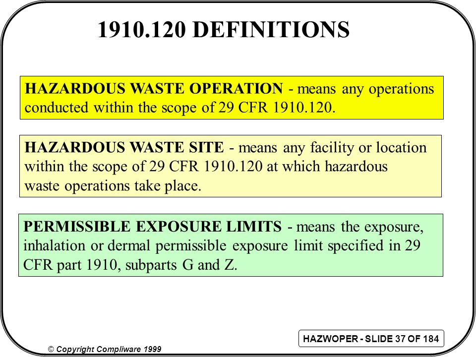 1910.120 DEFINITIONS HAZARDOUS WASTE OPERATION - means any operations