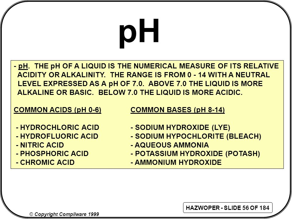 pH - pH. THE pH OF A LIQUID IS THE NUMERICAL MEASURE OF ITS RELATIVE