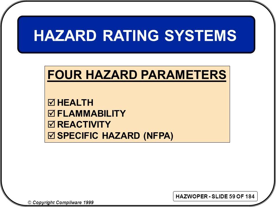 HAZARD RATING SYSTEMS FOUR HAZARD PARAMETERS HEALTH FLAMMABILITY