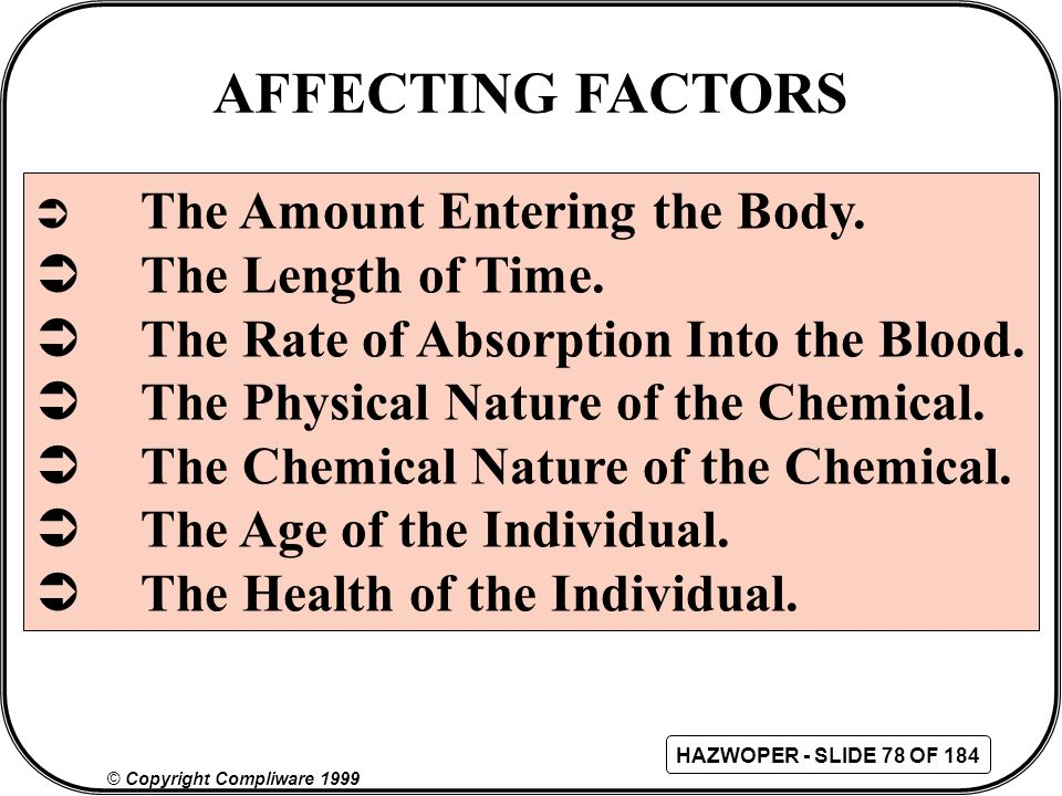 AFFECTING FACTORS The Length of Time.