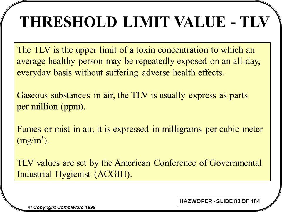 THRESHOLD LIMIT VALUE - TLV