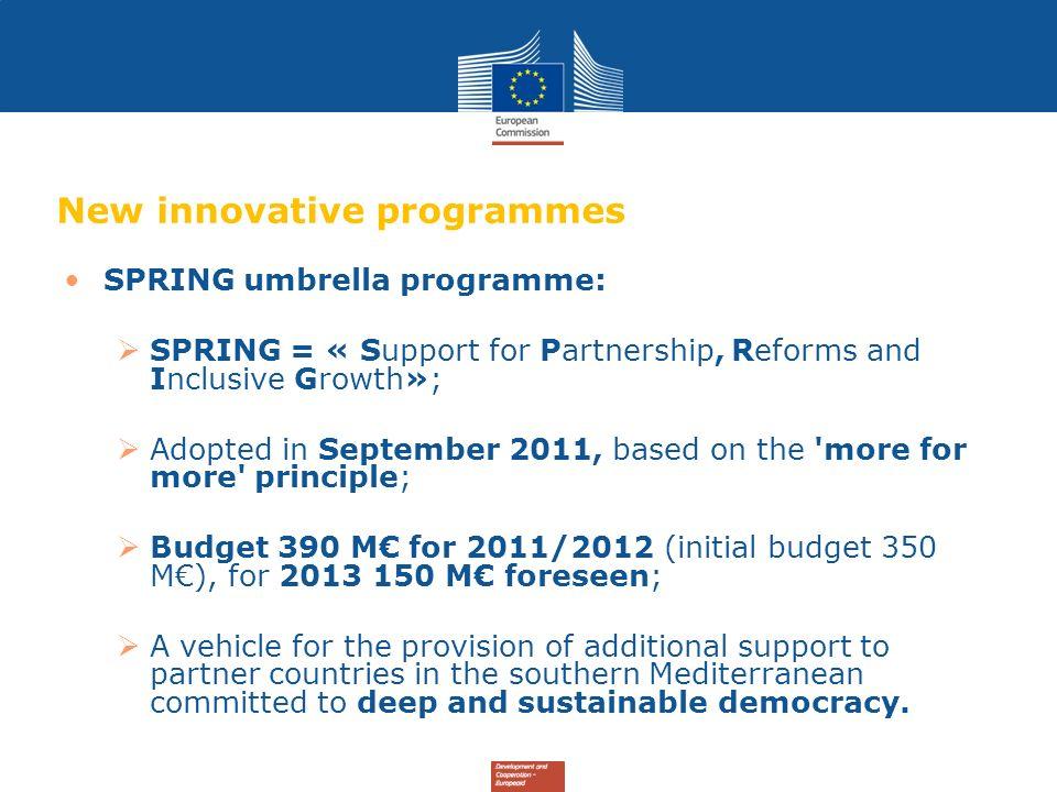 New innovative programmes