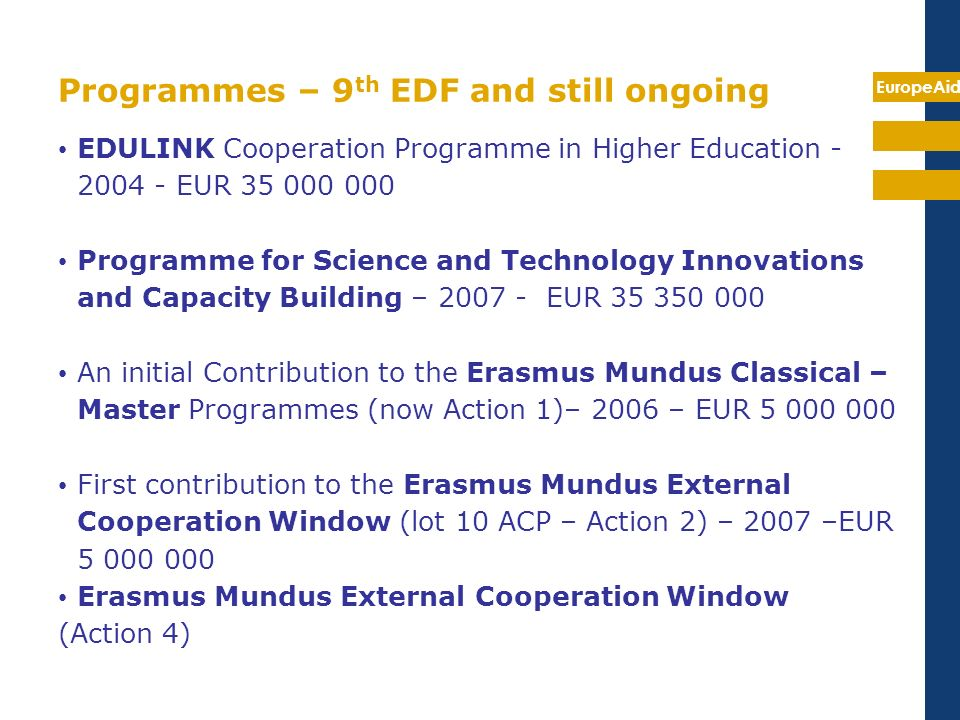 Programmes – 9th EDF and still ongoing