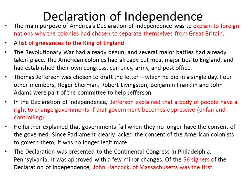 the purpose behind the declaration of independence in america Declaration of independence, ushistoryorg declaration resources project from  behind the declaration of independence  independence: the story behind america.