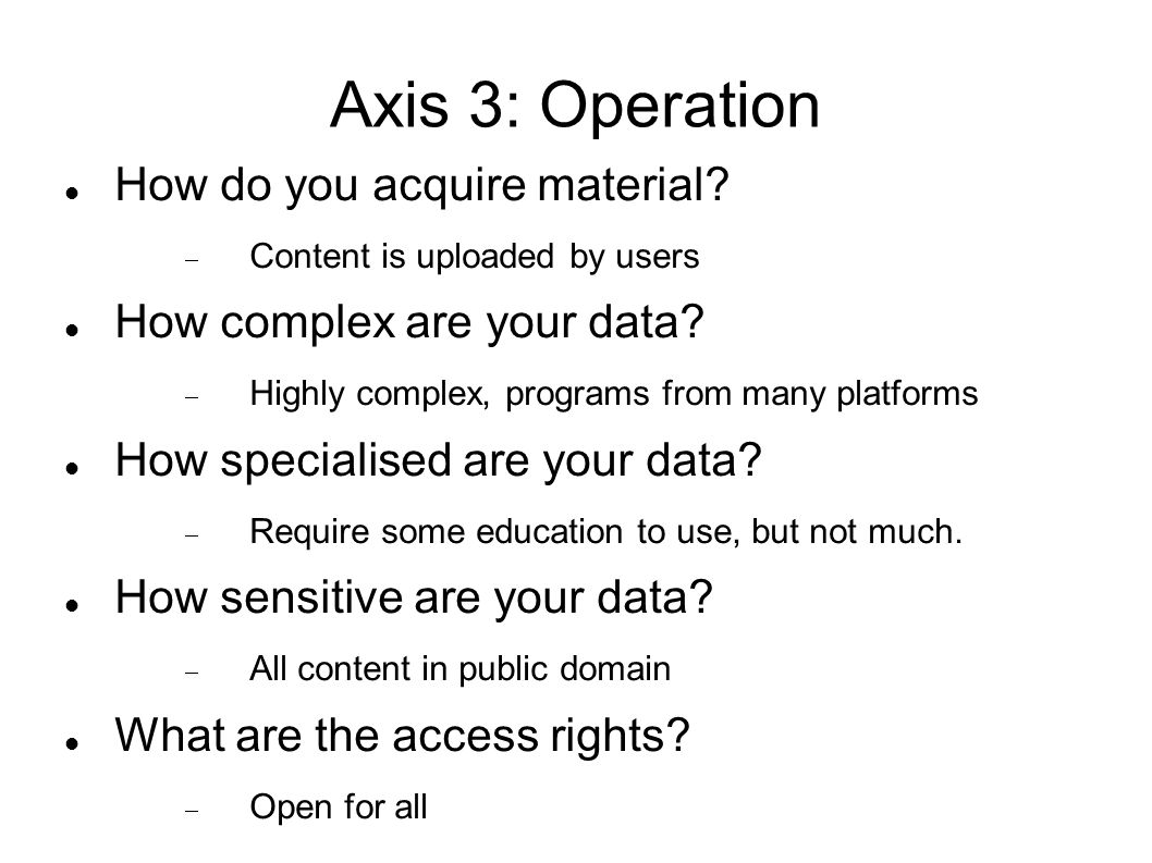 Axis 3: Operation How do you acquire material