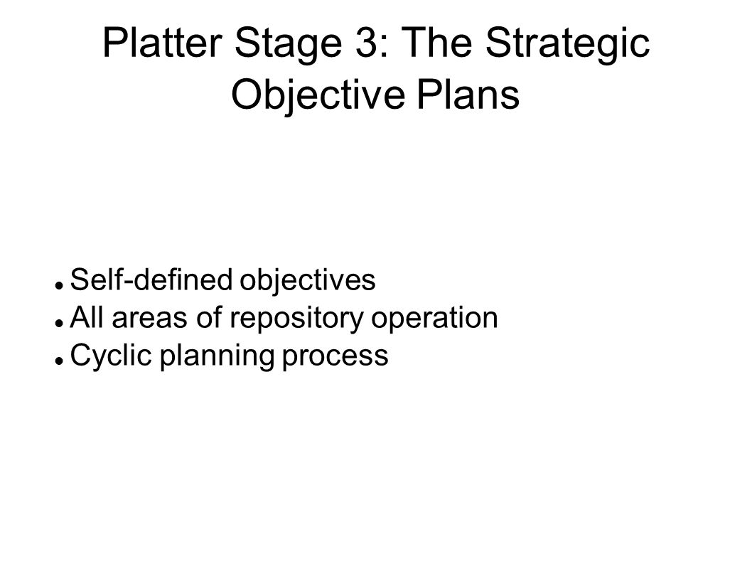 Platter Stage 3: The Strategic Objective Plans
