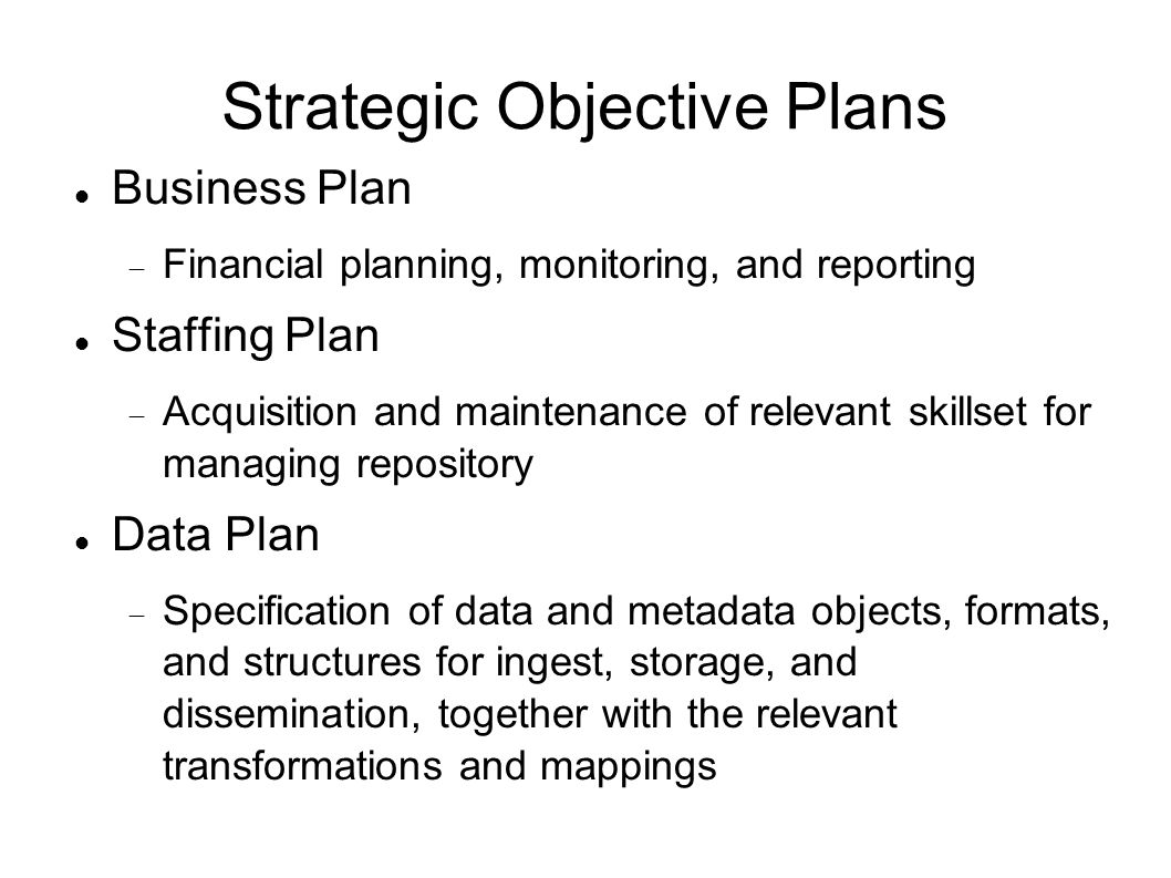 Strategic Objective Plans