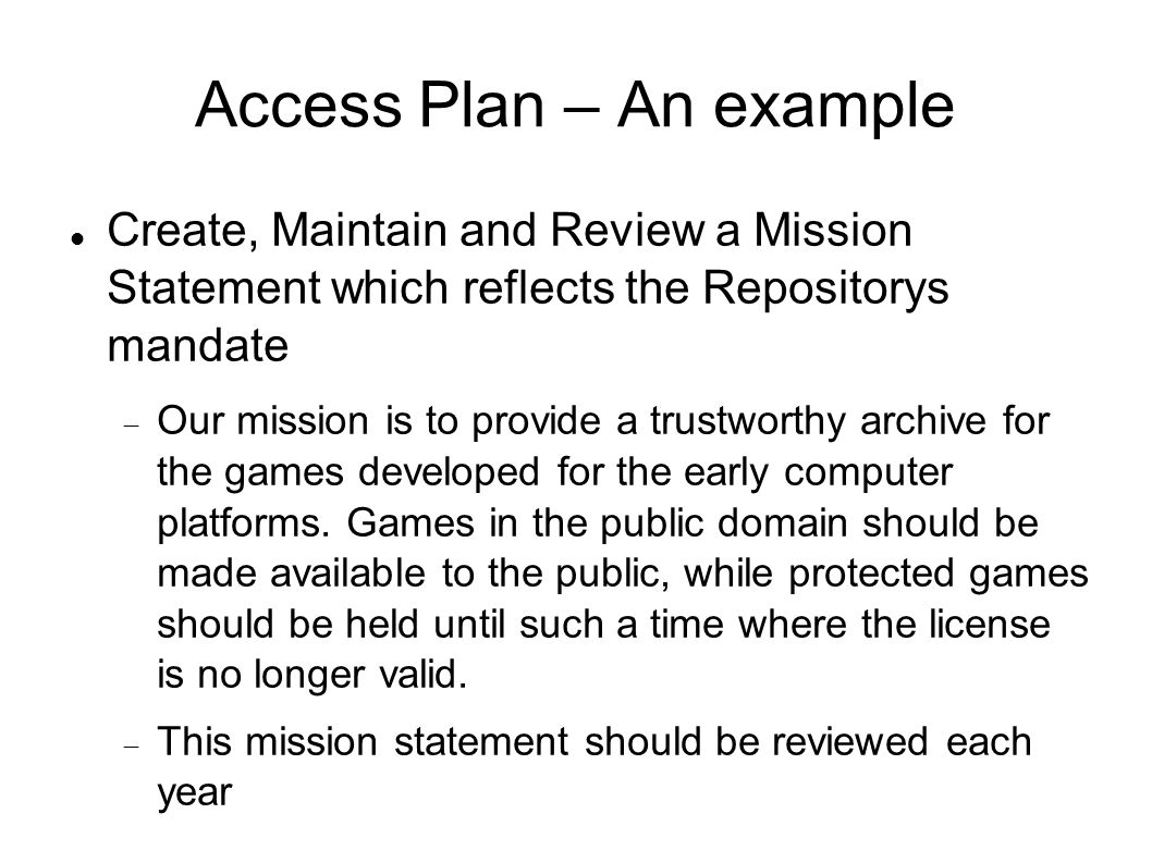 Access Plan – An example
