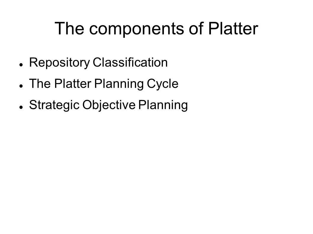 The components of Platter
