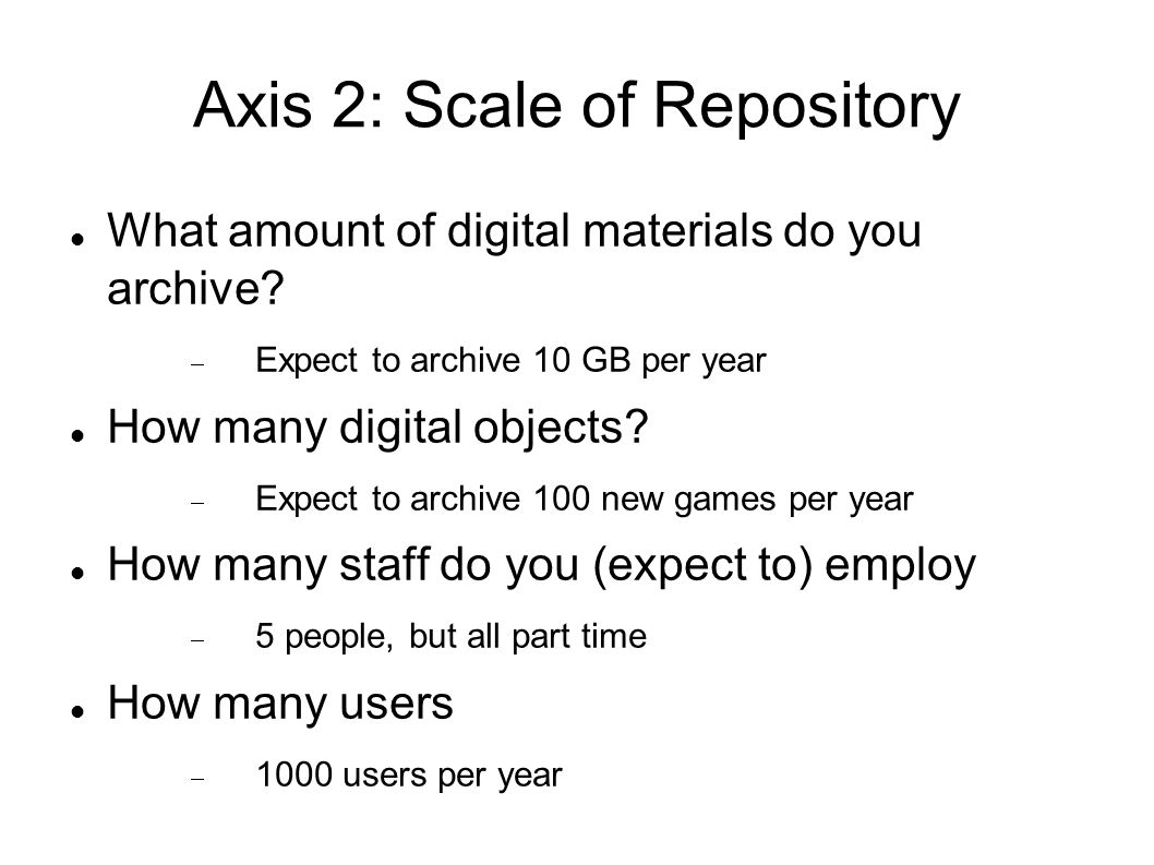 Axis 2: Scale of Repository