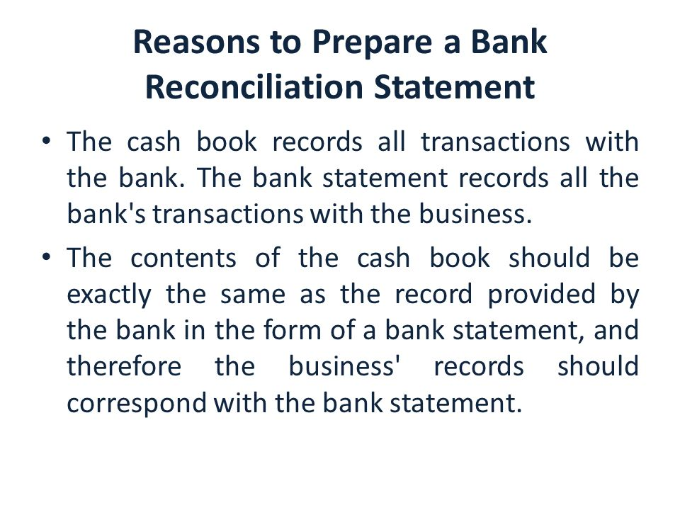 Bank Reconciliation. - Ppt Download