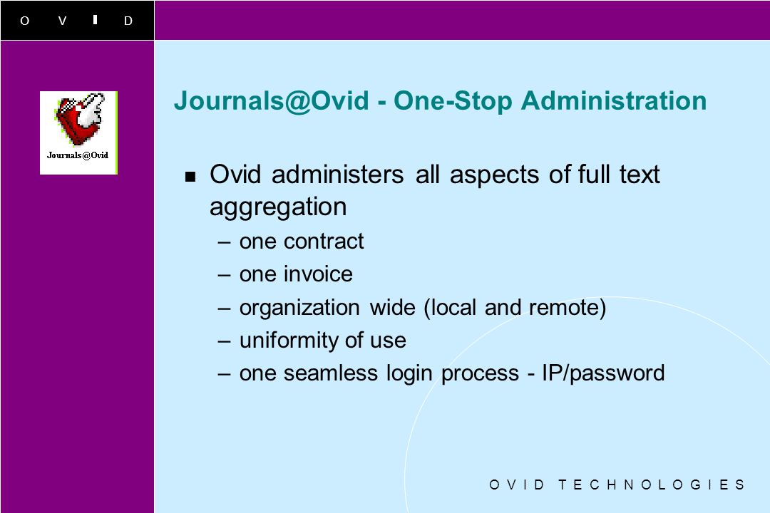 Journals@Ovid - One-Stop Administration