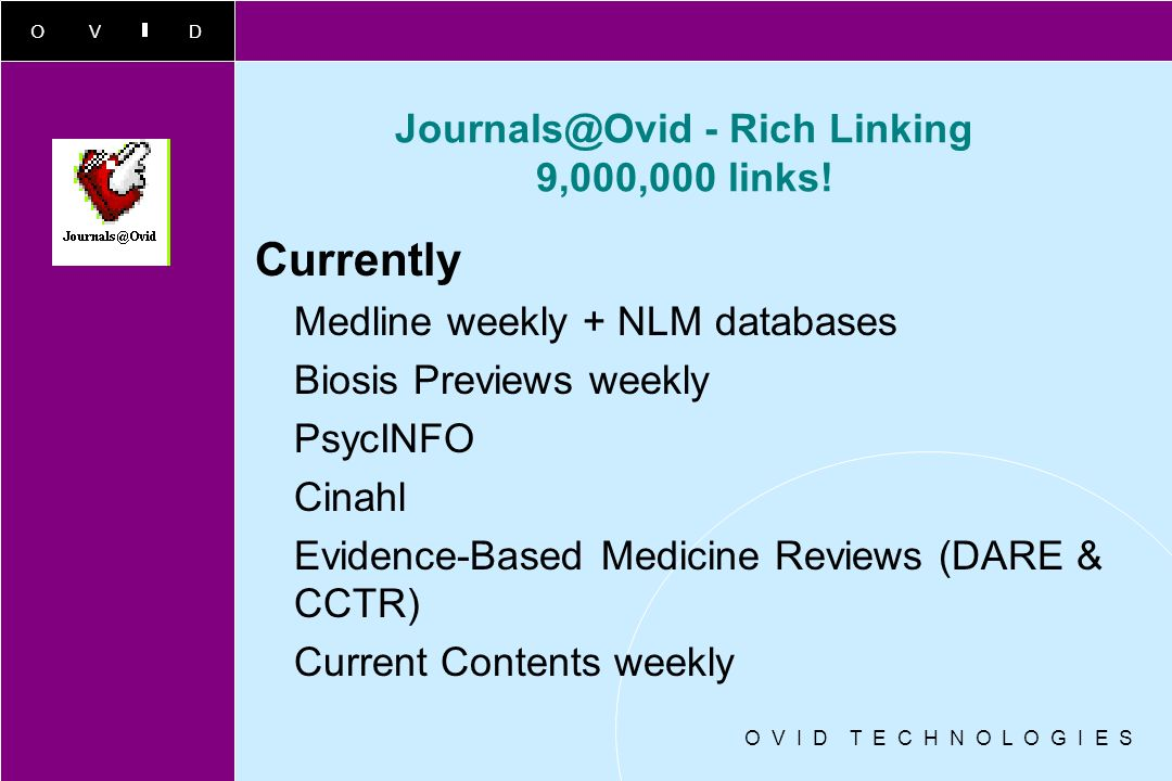 Journals@Ovid - Rich Linking 9,000,000 links!