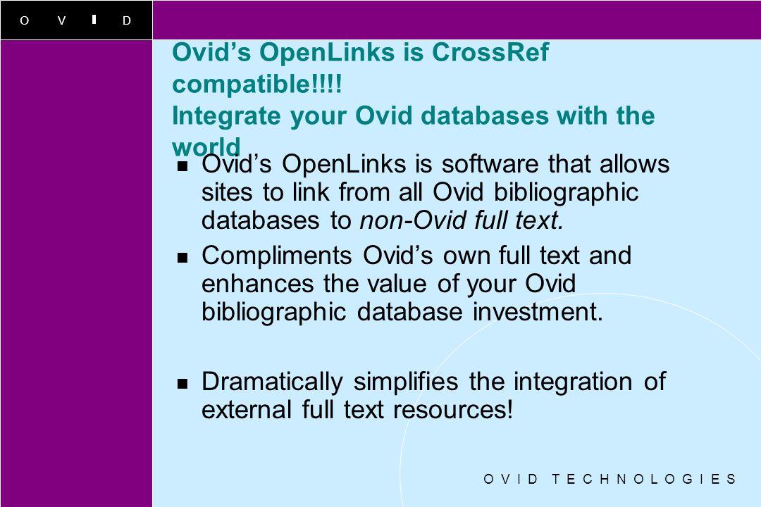 Ovid's OpenLinks is CrossRef compatible